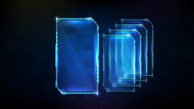 Abstract futuristic background of blue frame hud ui display card