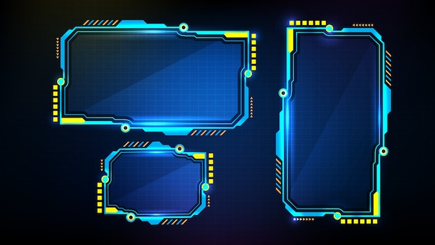 Abstract futuristic background of blue glowing digital numbers. sci fi technology hud ui frame.