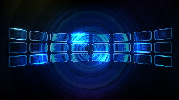 Abstract futuristic background of blue glowing hud ui frame element panel display