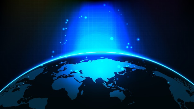 Abstract futuristic background of blue glowing light and china and asia world maps
