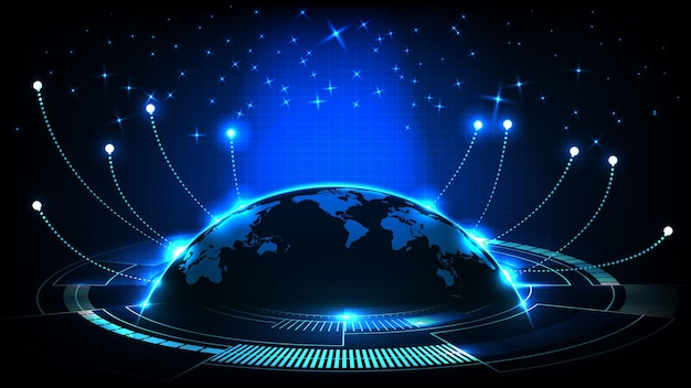 Abstract futuristic background of blue glowing light and world maps and connection line internet