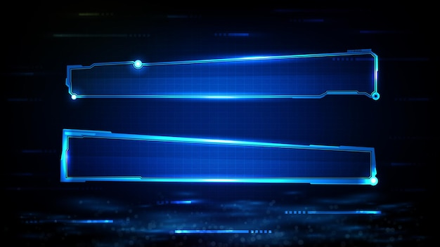 Abstract futuristic background of blue glowing technology sci fi frame hud ui lower third buttom bar