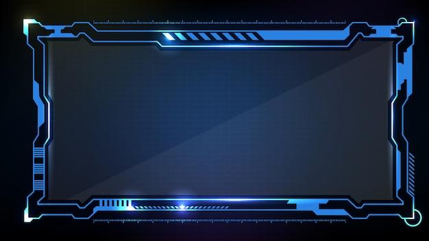 Абстрактный футуристический фон. синий светящийся технологический научно-фантастический кадр hud ui