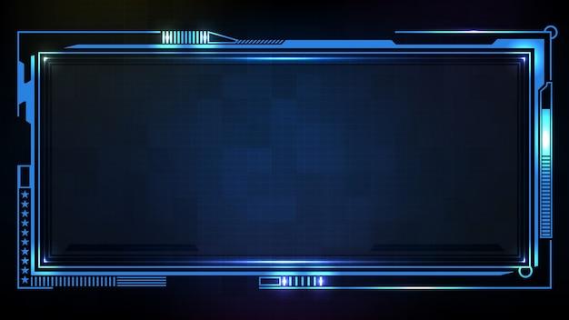 抽象的な未来的な背景。青い光る技術sci fiフレームhud ui