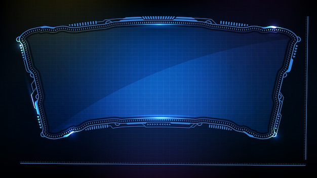 Abstract futuristic background. blue glowing technology sci fi frame hud ui