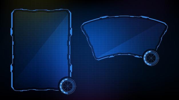 抽象的な未来的な背景。青く光るテクノロジーsfフレームhudui