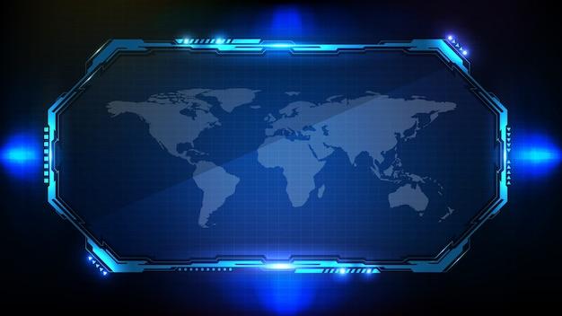 Абстрактный футуристический фон. голубая светящаяся научно-фантастическая рамка hud ui