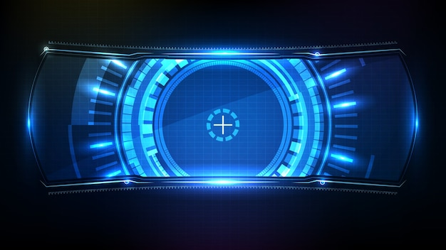 Abstract futuristic background of blue glowing technology sci-fi frame hud ui