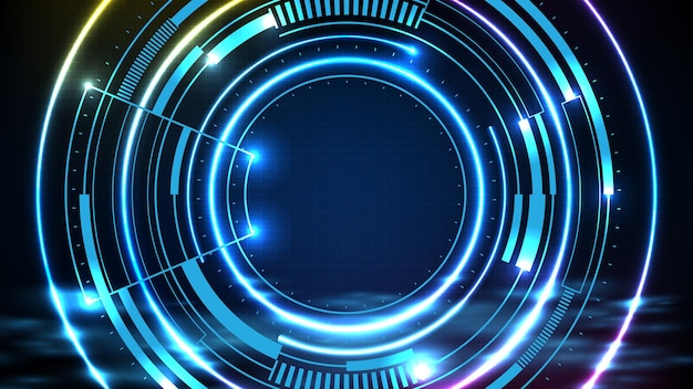 Abstract futuristic background of blue neon circle round frame