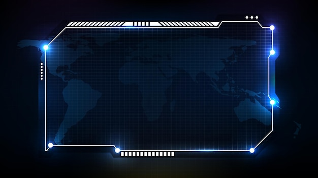 Abstract futuristic background of blue technology sci fi frame, hud ui topic, lower third button bar