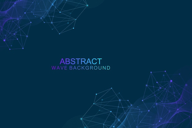 Abstract futuristic background molecules technology with polygonal shapes on dark blue background. digital technology design concept, scientific vector illustration.