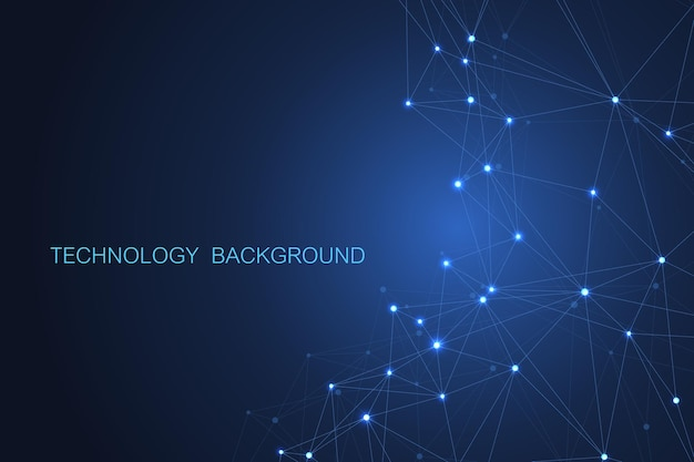 Abstract futuristic background. molecules technology with polygonal shapes on dark blue background.