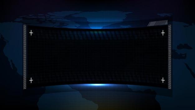 青と黒の技術の抽象的な未来的な背景sfフレームドキュメントソフトウェアディスプレイhudui