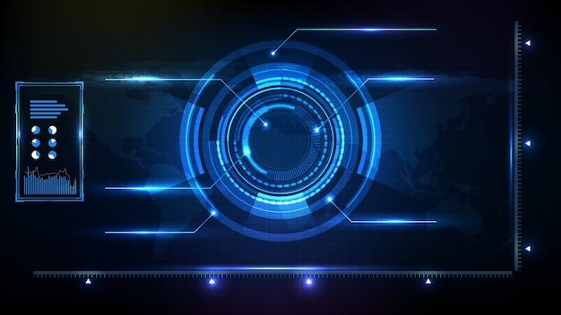 Абстрактный футуристический фон синего круга вокруг светящейся рамки научной фантастики. hud ui