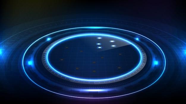 ブルーサークルの抽象的な未来的な背景の丸い光る技術sci fiフレーム。 hud ui