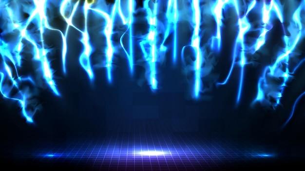 Абстрактный футуристический фон синей пустой сцены и неонового освещения сценический фон