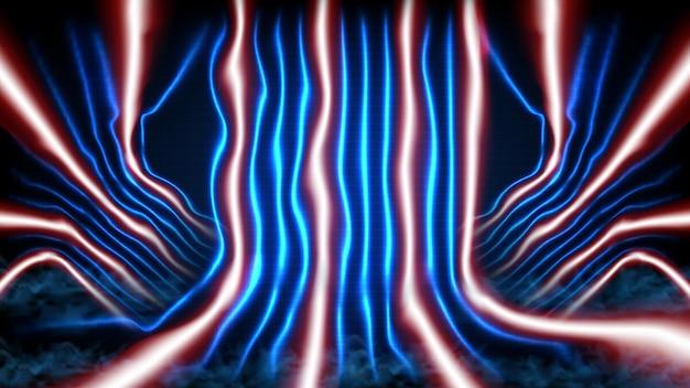 青い空のステージとネオン照明spotlgihtステージの背景の抽象的な未来的な背景