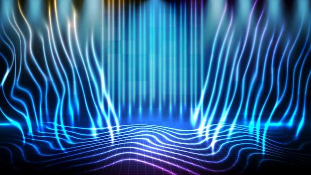 Абстрактный футуристический фон синей пустой сцены и неонового освещения прожектора фона сцены
