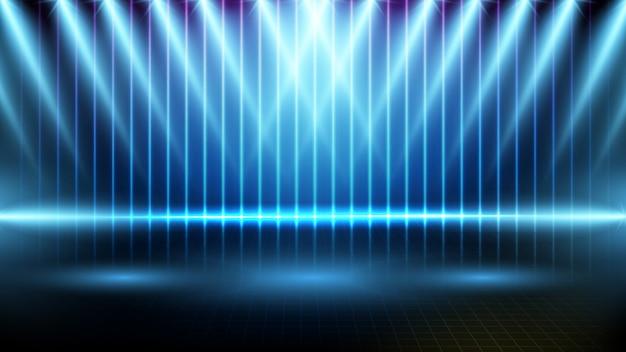 Абстрактная футуристическая предпосылка голубой пустой сцены и этапа фары неонового освещения
