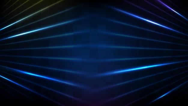 青い空のステージとネオン照明の抽象的な未来的な背景