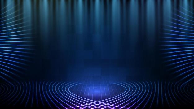 Абстрактный футуристический фон синей пустой сцены и неонового освещения