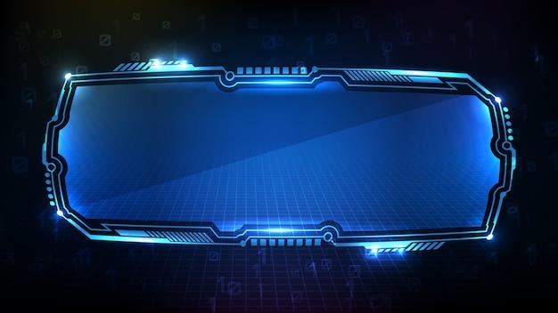 Абстрактный футуристический фон синих светящихся цифровых цифровых технологий научно-фантастической рамки hud ui