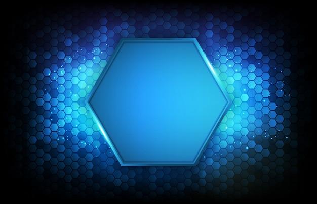 Абстрактный футуристический фон голубого светящегося шестиугольника
