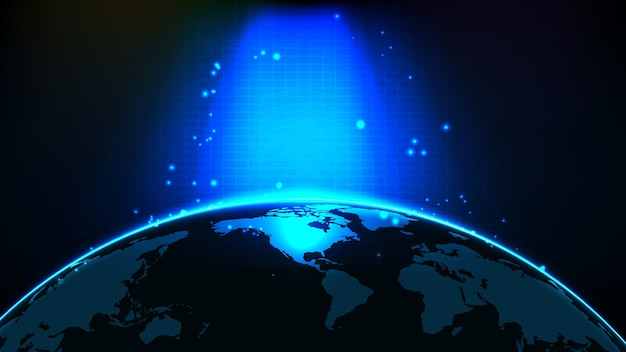 푸른 빛나는 빛과 북미 세계지도의 추상 미래 배경