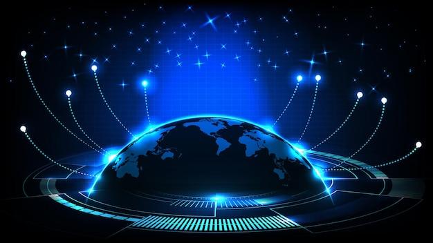 Абстрактный футуристический фон из синего светящегося света и карт мира и линии подключения к интернету