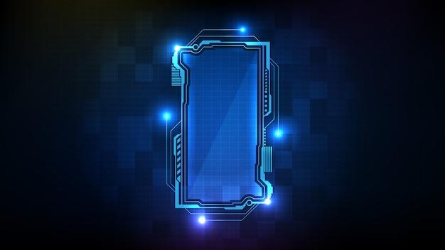 青く光るsfテクノロジーhuduiフレームの抽象的な未来的な背景。
