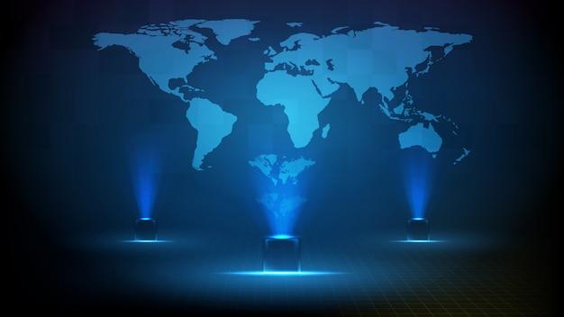 푸른 빛나는 광장 기술 홀로그램 및 세계지도의 추상 미래 배경