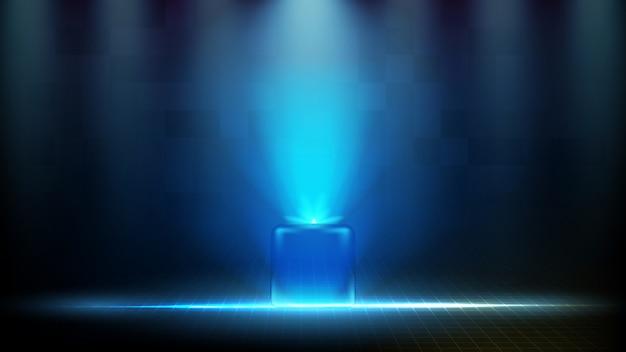 Абстрактный футуристический фон голубой светящейся квадратной технологии голограммы