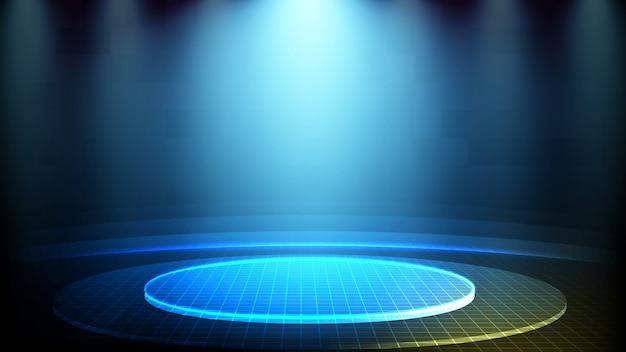 푸른 빛나는 무대 조명 기술 홀로그램의 추상 미래 배경