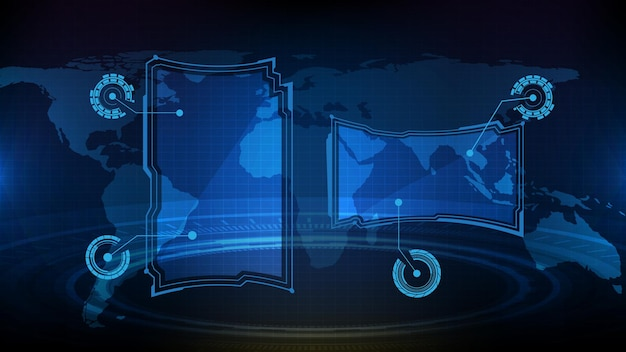 青い光る技術の抽象的な未来的な背景sfフレームhudui要素