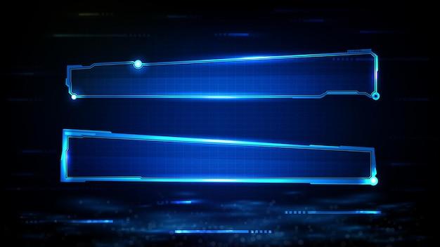 青い光る技術の抽象的な未来的な背景scifiフレームhudui下の3番目のボタンバー