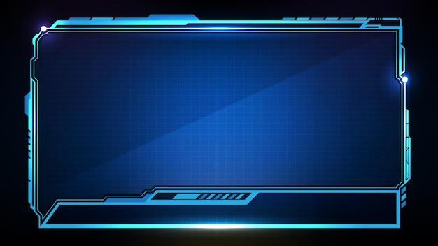 青い光る技術の抽象的な未来的な背景sfフレームhuduiローワーサード