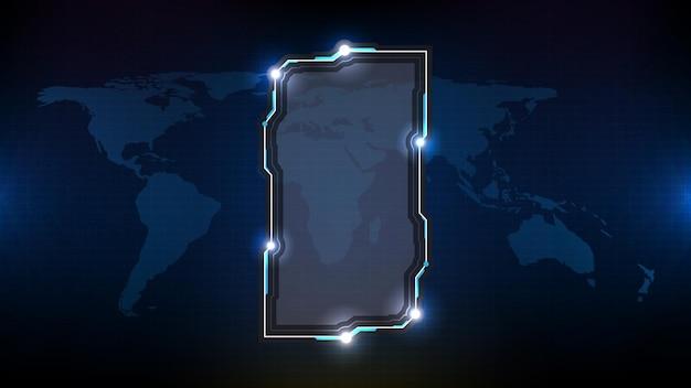 青い光る技術の抽象的な未来的な背景sfフレームhudui