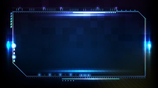 Абстрактный футуристический фон синей светящейся технологии научно-фантастического кадра hud ui