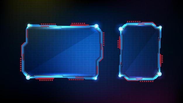 푸른 빛나는 기술 sci fi 프레임 hud ui의 추상 미래 배경