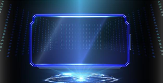 푸른 빛나는 기술의 추상 미래 배경