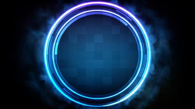 Абстрактный футуристический фон синий неоновый круг вокруг рамки