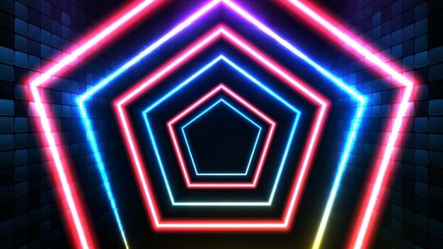 青いネオンの輝く六角形の形と照明spotlgihtステージの背景の抽象的な未来的な背景