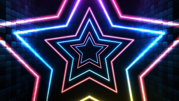 파란색 네온 빛나는 별과 조명 spotlgiht 무대 배경의 추상 미래 배경