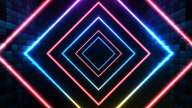Абстрактный футуристический фон из синей неоновой квадратной рамки и освещения сценического фона