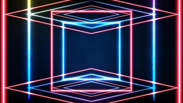 青いネオンの正方形のフレームと照明spotlgihtステージの背景の抽象的な未来的な背景