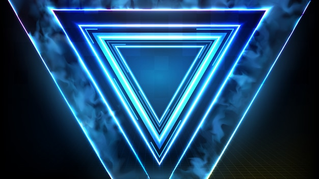 블루 네온 삼각형 프레임의 추상 미래 배경