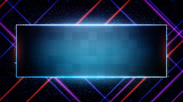 Абстрактный футуристический фон синего печатной платы и неоновой квадратной рамы
