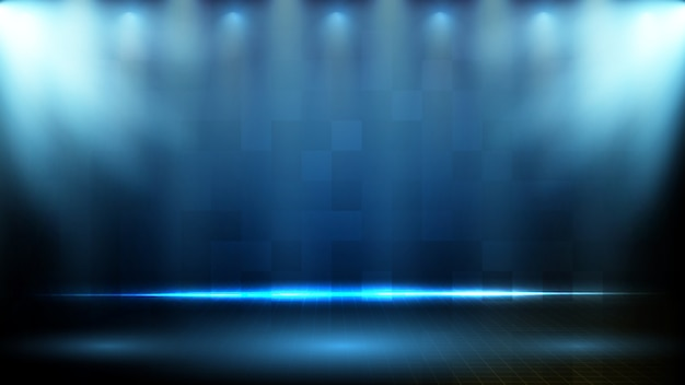 Абстрактный футуристический фон синий технологии освещения spotlgiht фоне сцены