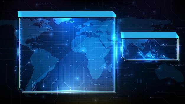 青い技術のsfフレーム、hud uiトピック、ローワーサードボタンバーの抽象的な未来的な背景
