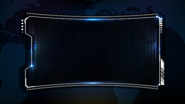 Абстрактный футуристический фон голубой технологической научно-фантастической рамки, тема hud ui, нижняя третья панель кнопок